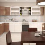 дизайн навесных шкафов на кухне кофейного цвета