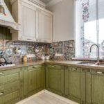 оливковая мебель для кухни прованс