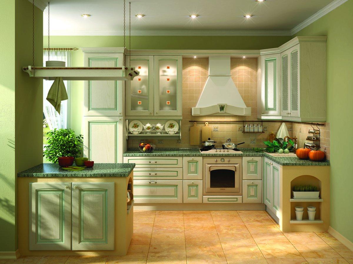 оливковые стены в интерьере кухни