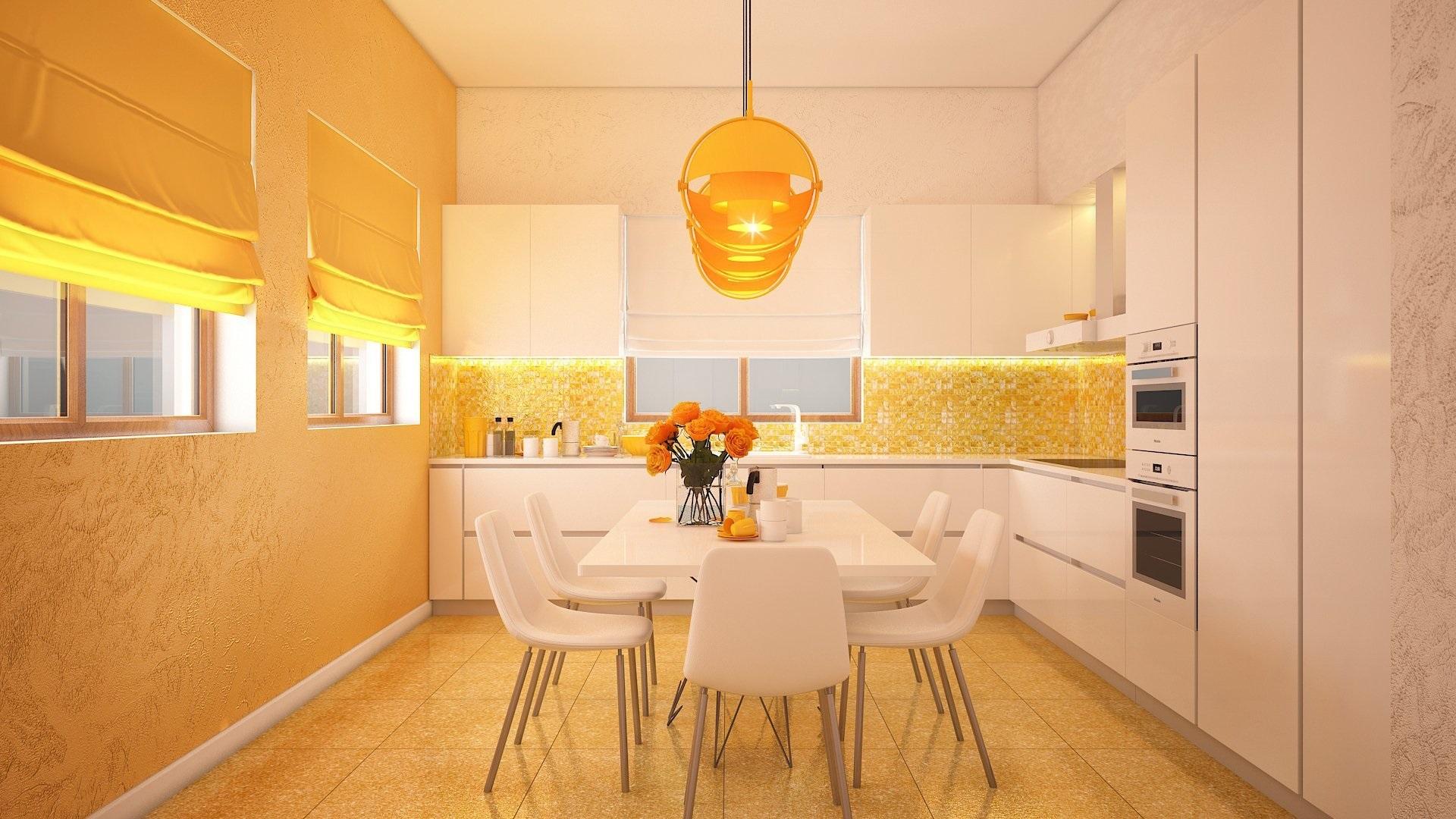 оранжевые обои для кухни