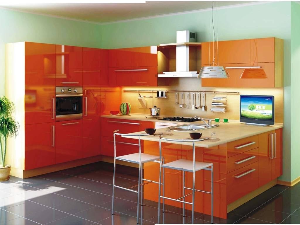 современный дизайн оранжевой кухни