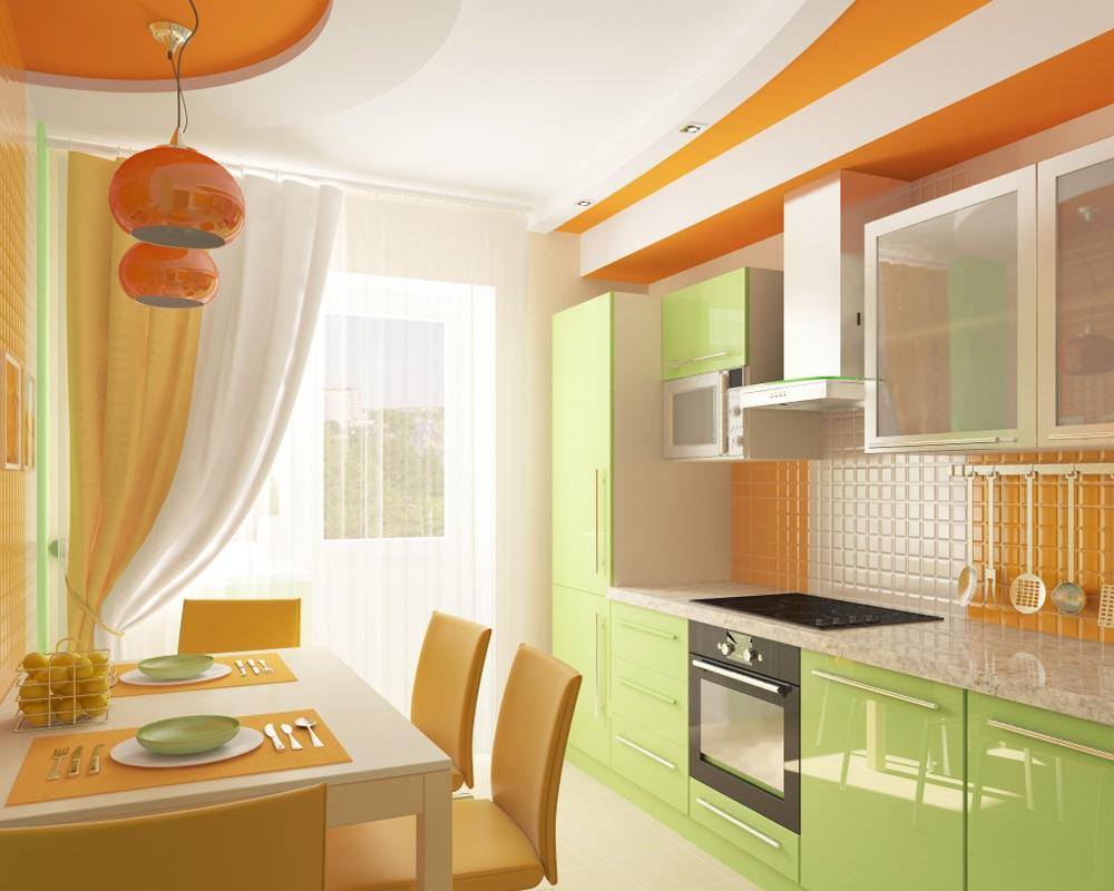 оранжевый с салатовым на кухне