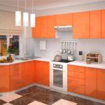оранжевая кухня с коричневым полом