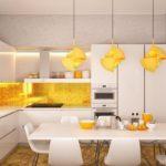 оранжевая кухня желтая