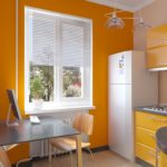 оранжевая кухня с жалюзи