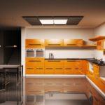 оранжевая кухня с летсницей
