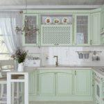 красивая кухня в мятном цвете