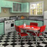 яркие детали на мятной кухне