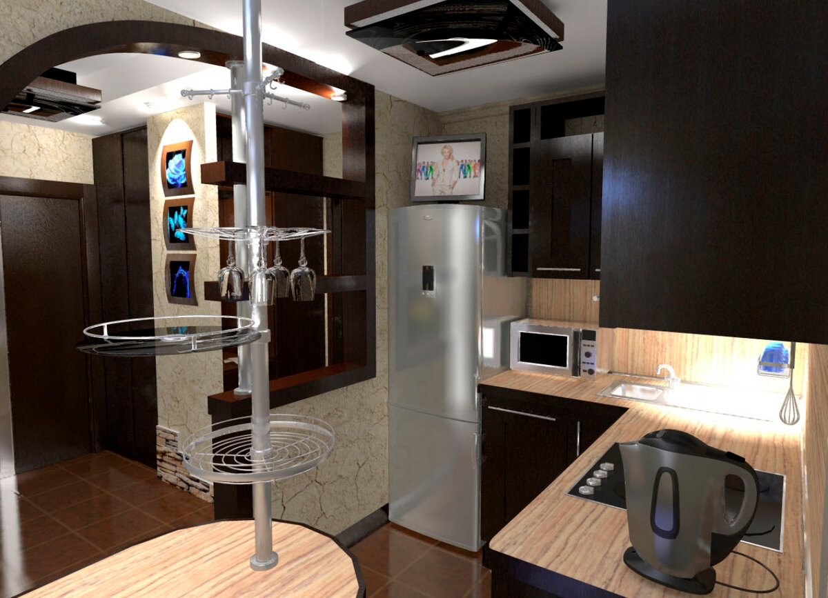 узкий холодильник и плита