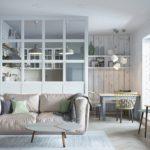 стеклянная белая загородка кухонной зоны