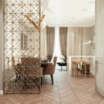 бежевая решетчатая деревянная перегородка на кухню