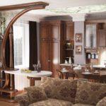 фигурная коричневая перегородка на кухню со стойкой