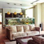 зонирование диваном и аквариумом