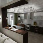 коричневая стойка перегородка кухонная