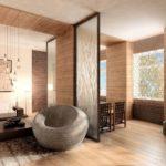 деревянная плитка на полу и стенах