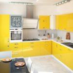 пример желто-белой кухни