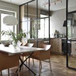 раздвижные стеклянные перегородки для кухни