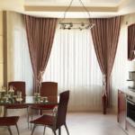 шикарные шторы для кухни в коричневых тонах
