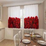 бело-красные шторы для кухни