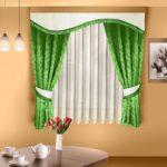 шторы для кухни зеленого цвета