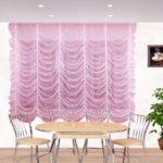 сиреневые шторы оформленные необычным способом