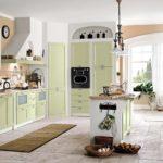 оформление оливковой кухни большого размера
