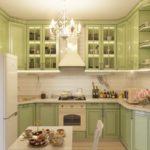 интерьер классик на оливковой кухне