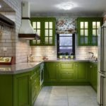 как оформить кухню оливковым цветом