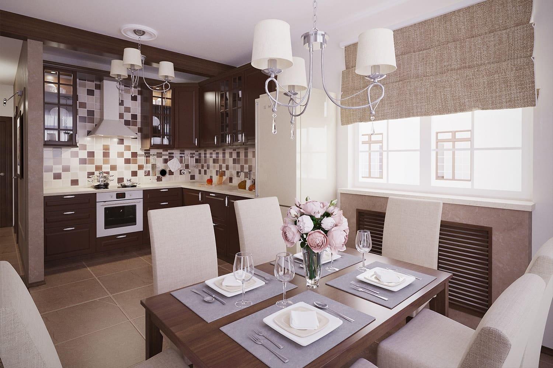 римские шторы на кофейной кухне
