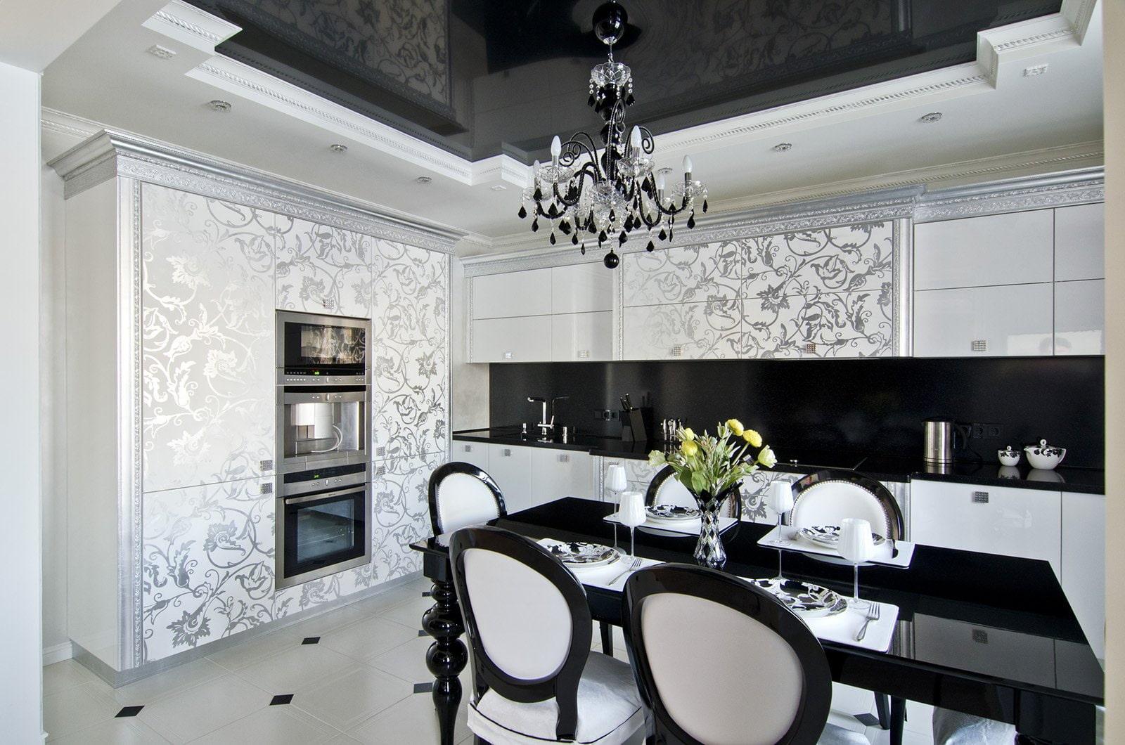 черно-белые обои на кухне фото