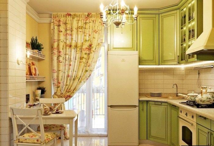 как подобрать шторы для оливковой кухни