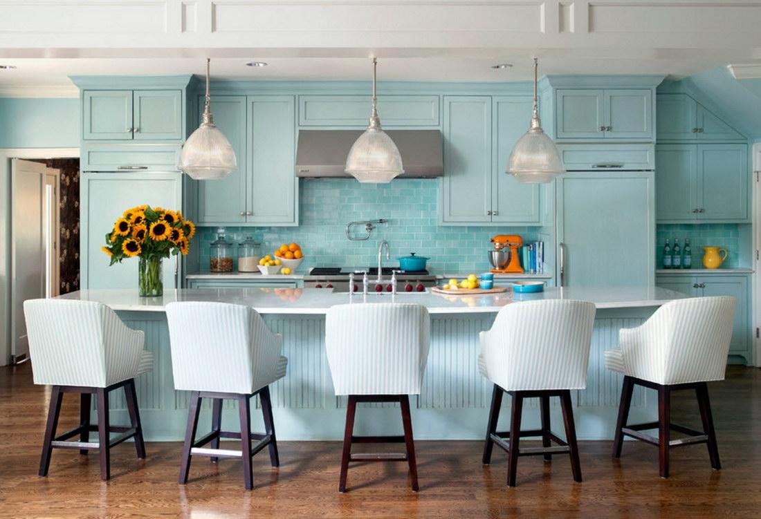 современные голубые кухни