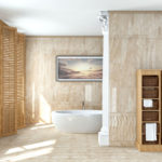 ванна в стиле фьюжен с испанской плиткой