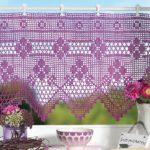 вязаные шторы розовые