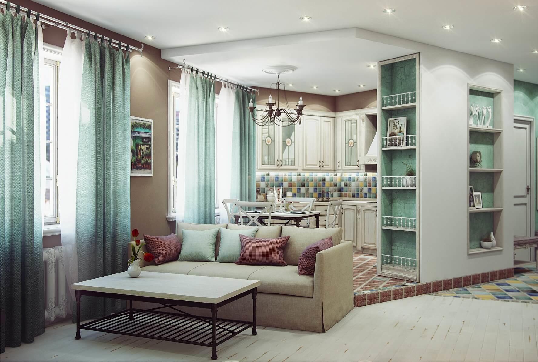 зонирование кухни с помощью мебели