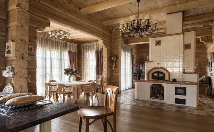 Бревенчатые стены в кухне-гостиной
