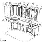 чертеж угловой кухни 1050 х 3100