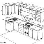 чертеж угловой кухни 1070 х 3100