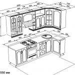 чертеж угловой кухни 1100 х 2550