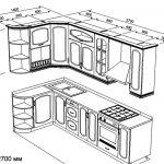 чертеж угловой кухни 1400 х 2700