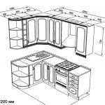 чертеж угловой кухни 1450 х 2200