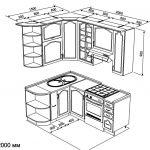 чертеж угловой кухни 1500 х 2000