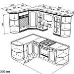 чертеж угловой кухни 1500 х 2300