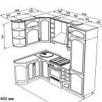 чертеж угловой кухни 1500 х 2400