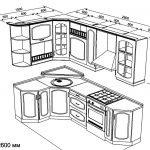 чертеж угловой кухни 1500 х 2600