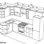 чертеж угловой кухни 1500 х 3200