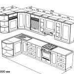 чертеж угловой кухни 1500 х 3500
