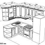 чертеж угловой кухни 1600 х 2600