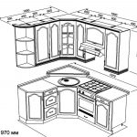 чертеж угловой кухни 1650 х 1970