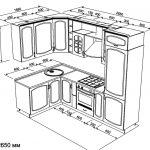 чертеж угловой кухни 1680 х 2650